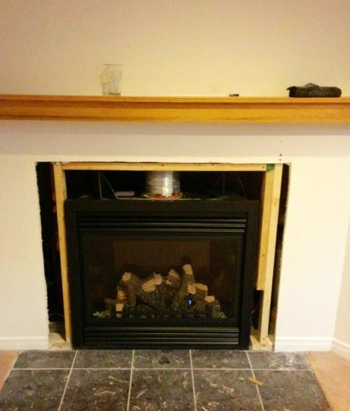 client stonework with Napoleon GD36 gas fireplace