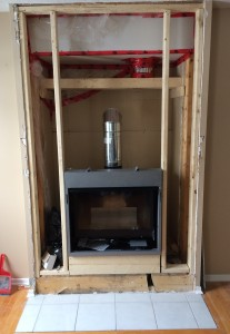 Valor unit with repaired fireplace enclosure